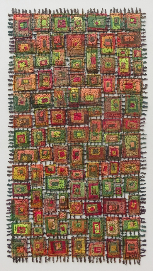 """Autumn - Seasonal Leaves Art Quit Framed 34"""" x 22"""" $550"""