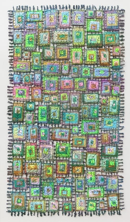 Spring- Seasonal Leaves Art Quit Framed 34 x 22 $550