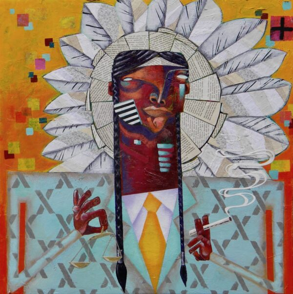 "All Natural (2) – Chief with Balance – 24"" x 24"", $500"