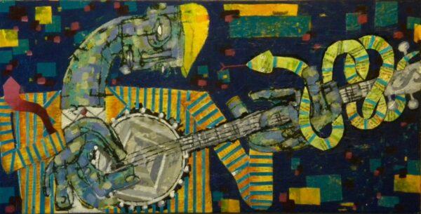 """Banjo Hoodoo – 24"""" x 12"""", $250"""