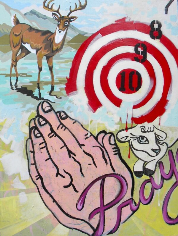 "Hunt and Pray – 36"" x 48"", $1000"