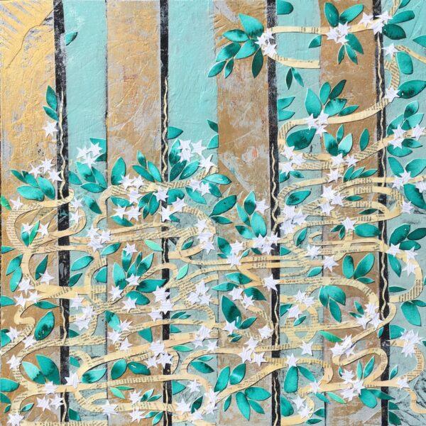 """Jasmine Through a Fence – 24"""" x 24"""" , $500"""