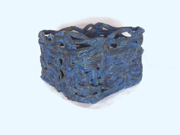triangular blue basket back