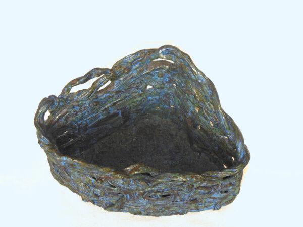 triangular blue basket inside
